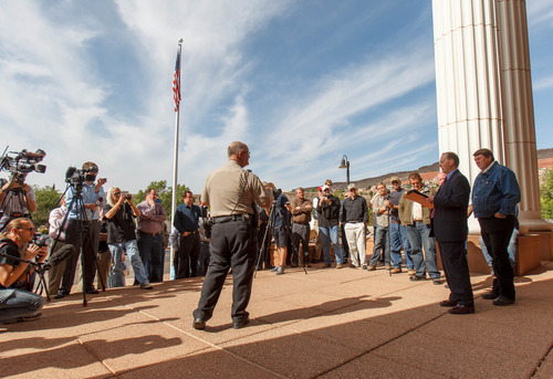 Trent Nelson     The Salt Lake Tribune Willie Jessop was the sole bidder at an auction on courthouse steps for a property previously used by Warren Jeffs' Fundamentalist Church of Latter-Day Saints Thursday, April 25, 2013. The property includes several homes, a storehouse and what was formerly a public school. Running the auction is Washington County Sheriff Deputy Johnny Owen.