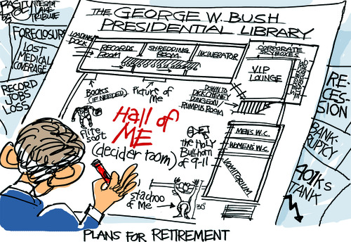 Pat Bagley  |  The Salt Lake Tribune With the dedication of the George W. Bush library, I took a turn down memory lane to recall some of the highlights of the last year of his presidency in my cartoons. I forgot that I had already done a Bush Library cartoon back in December 2008.