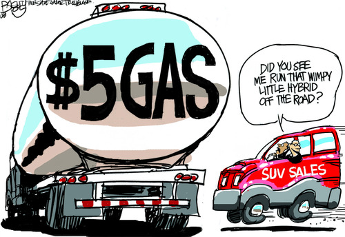 Pat Bagley  |  The Salt Lake Tribune In the summer of 2008, gas prices approached $5 a gallon. In fact, I recall paying more than that in Mesquite on the way to California for the family vacation. 7-2-08