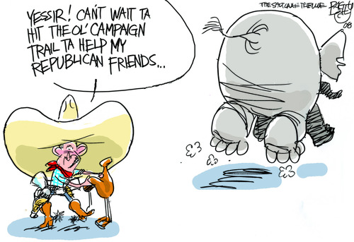 Pat Bagley  |  The Salt Lake Tribune Poor George. He was left with nothing to do during the 2008 election 5-18-08