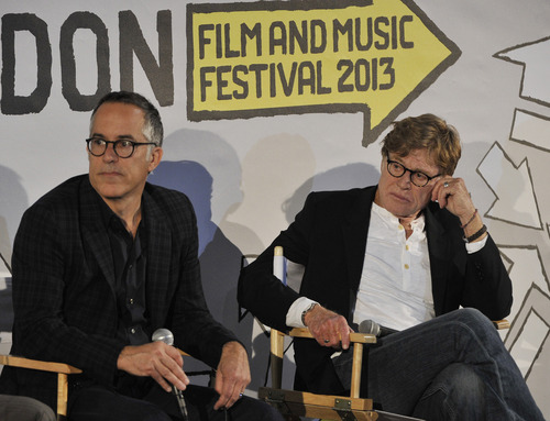 Gareth Cattermole  |  Getty Images Sundance Film Festival director John Cooper, left, and Sundance Institute founder Robert Redford at the opening press conference Wednesday of the 2013 Sundance London Film and Music Festival.