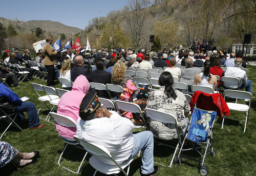 Rick Egan  | The Salt Lake Tribune   Crowds of veterans and their families gather for the memorial ceremony at Memory Grove, Wednesday, April 24, 2013. The ceremony was part of a larger effort to remember veterans of the Korean War, which began June 25, 1950, and ended in July 1953.