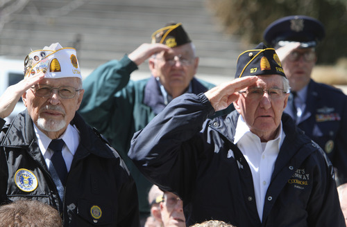 Rick Egan  | The Salt Lake Tribune   Korean War veterans stand to be recognized at a memorial honoring them at Memory Grove, Wednesday, April 24, 2013. The ceremony was part of a larger effort to remember veterans of the Korean War, which began June 25, 1950, and ended in July 1953.