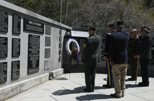 Rick Egan  | The Salt Lake Tribune   Korean War veterans salute during the laying of the wreath ceremony at Memory Grove, Wednesday, April 24, 2013. The ceremony was part of a larger effort to remember veterans of the Korean War, which began June 25, 1950, and ended in July 1953.