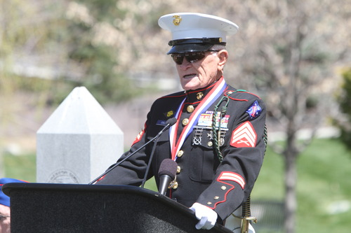 Rick Egan  | The Salt Lake Tribune   John Cole, USMC, Korean War veteran, Battle of Chosin Reservoir, speaks at a memorial honoring veterans of the Korean War at Memory Grove, Wednesday, April 24, 2013. The ceremony was part of a larger effort to remember veterans of the Korean War, which began June 25, 1950, and ended in July 1953.