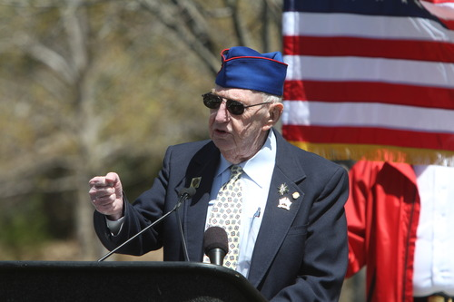Rick Egan  | The Salt Lake Tribune   Charlie Pharr, US Army, Korean War veteran, Battle of Chosin Reservoir, speaks at a memorial honoring veterans of the Korean War at Memory Grove, Wednesday, April 24, 2013. The ceremony was part of a larger effort to remember veterans of the Korean War, which began June 25, 1950, and ended in July 1953.