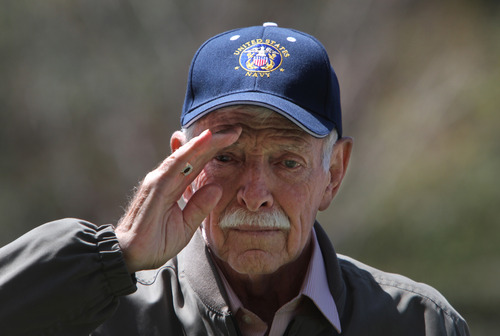 Rick Egan  | The Salt Lake Tribune   Marion Manwill, Payson, US Navy, Korean War veteran, is recognized at a memorial honoring veterans of the Korean War at Memory Grove, Wednesday, April 24, 2013. The ceremony was part of a larger effort to remember veterans of the Korean War, which began June 25, 1950, and ended in July 1953.