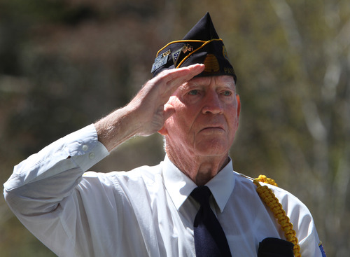 Rick Egan  | The Salt Lake Tribune   Korean War veteran Daryl Davis, Payson, stands to be recognized at a memorial honoring veterans of the Korean War at Memory Grove, Wednesday, April 24, 2013. The ceremony was part of a larger effort to remember veterans of the Korean War, which began June 25, 1950, and ended in July 1953.