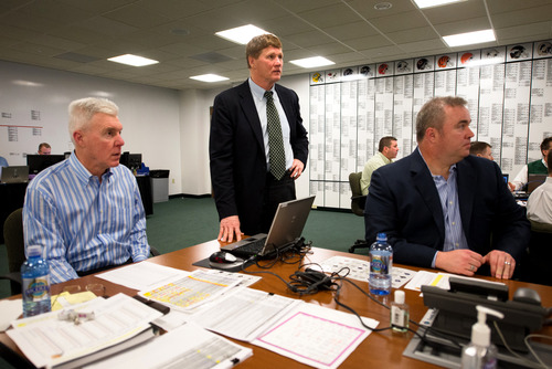 Green Bay Packers general manager Ted Thompson, left, president Mark Murphy and head coach Mike McCarthy watch a broadcast of NFL football draft on televisions in the team's draft room at Lambeau Field in Green Bay, Wis., on Thursday, April 25, 2013. (AP Photo/The Green Bay Press-Gazette, Lukas Keapproth)