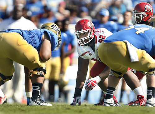 Scott Sommerdorf  |  The Salt Lake Tribune              Utah DL Star Lotulelei lines up across from the UCLA Offensive line during the second half of their 21-14 loss to UCLA in Pasadena, Saturday, October 13, 2012.