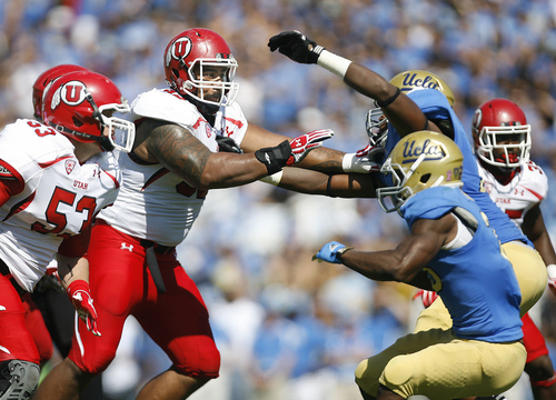 Scott Sommerdorf  |  The Salt Lake Tribune              Utah Utes defensive tackle Star Lotulelei (92) is double-teamed as he rushes during first half play. UCLA defeated Utah 21-14 in Pasadena, Saturday, October 13, 2012.
