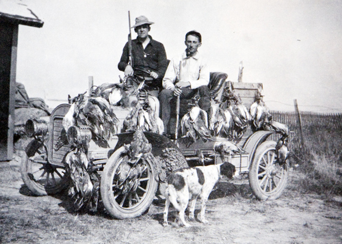 (Utah State Historical Society)  Utah duck hunters. At the time this photo was taken, there was no limit of ducks that hunters could take.