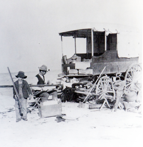 (Utah State Historical Society)  Father and son hunting on the Salt Flats around 1900.