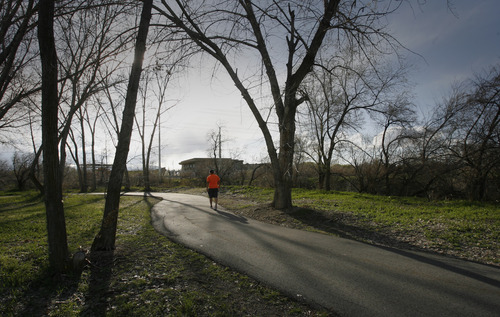 Rick Egan  | The Salt Lake Tribune   The Jordan River Trail east of the Utah Cultural Celebration Center, 1355 W. 3100 South. West Valley City is planning to build a suspension bridge connecting the trail to the Utah Cultural Celebration Center, 1355 W. 3100 South.