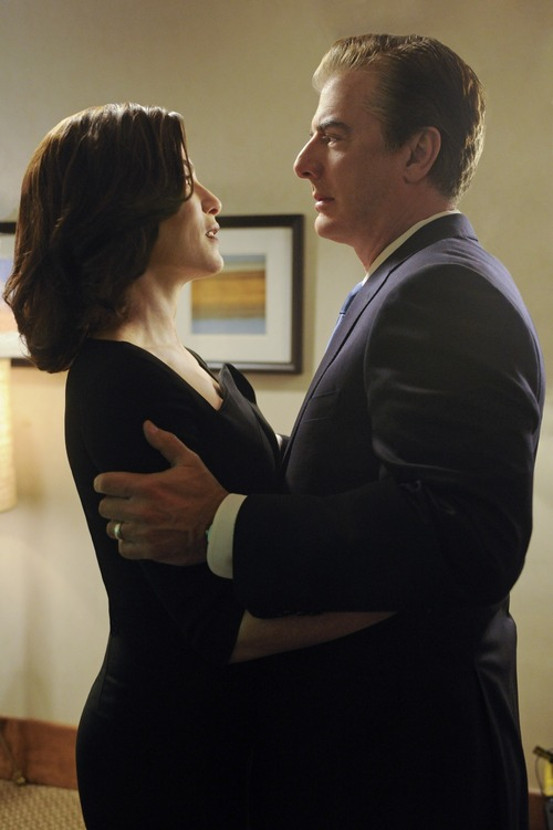 "Alicia (Julianna Margulies. left) and Peter (Chris Noth, right) share a quiet moment on the eve of the gubernatorial election, on ""The Good Wife."" Courtesy photo"