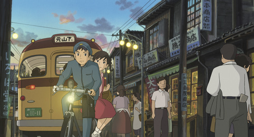 """""""From Up on Poppy Hill"""" • Umi (right, voiced by Sarah Bolger) and Shun (voiced by Anton Yelchin) ride through Yokohama, circa 1963, in this animated tale directed by Goro Miyazaki (son of the legendary Hayao Miyazaki). (Opens April 26) Studio Ghibly/GKIDS"""