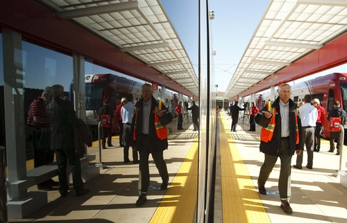 Leah Hogsten  |  Tribune file photo TRAX rail service general manager Paul O'Brien walks the line at the  Salt Lake City International Airport stop on Wednesday, April 10, 2013. The six-mile line takes about 20 minutes to travel from downtown Salt Lake City to the airport as part of the green line from West Valley City. Trains will run every 15 minutes on weekdays, and every 20 minutes on weekends.