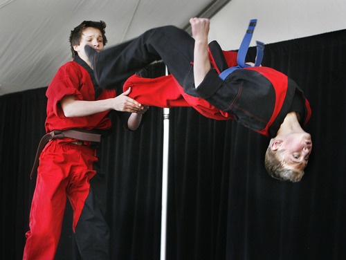 Scott Sommerdorf  |  The Salt Lake Tribune              The Nihom Matsuri Japan Festival is Saturday, April 27, 2013, in Salt Lake City. In this photo from the 2012 festival, performers from The Winner School put on a martial arts demonstration.