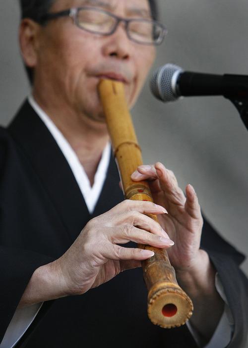 Scott Sommerdorf  |  The Salt Lake Tribune              The Nihom Matsuri Japan Festival is Saturday, April 27, 2013, in Salt Lake City. In this photo from the 2012 festival, Seizaburo Kubo plays the shakuhachi and shinobue (Japanese flutes).