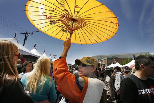 Scott Sommerdorf  |  The Salt Lake Tribune    The Nihom Matsuri Japan Festival is Saturday, April 27, 2013, in Salt Lake City. In this photo from the 2012 festival, Dalton Fairbanks tries to make his way through the crowd.
