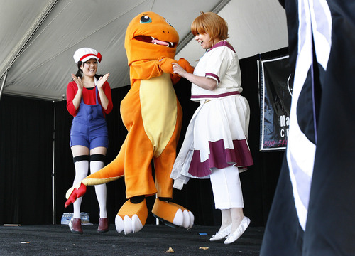 Scott Sommerdorf  |  The Salt Lake Tribune              Anime characters act out a play onstage at the Nihom Matsuri Japan Festival, Saturday, April 28, 2012. The 2013 version is Saturday, April 27.