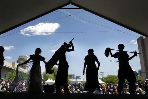 Scott Sommerdorf  |  The Salt Lake Tribune              The Nihom Matsuri Japan Festival is Saturday, April 27, in Salt Lake City. In this photo from the 2012 festival, anime characters perform onstage. The festival featured an anime costume showcase, martial arts demonstrations, and guest artist Seizaburo Kubo, who plays the shakuhachi and shinobue (Japanese flutes).