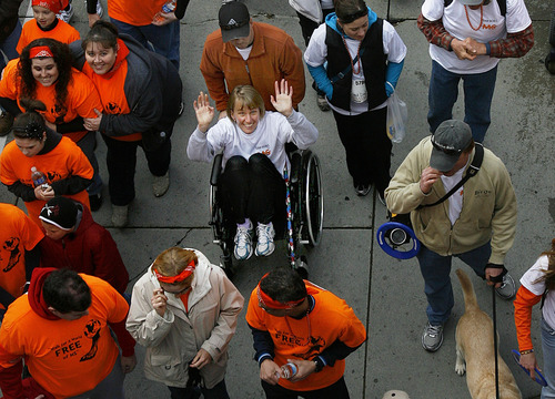 Scott Sommerdorf  |  The Salt Lake Tribune The MS Walk is Saturday, April 27, 2013, in The Gateway in Salt Lake City. In this photo from the 2011 walk, participants including some in wheelchairs start from The Gateway as they walk in the National Multiple Sclerosis Society's 22nd Annual MS Walk.