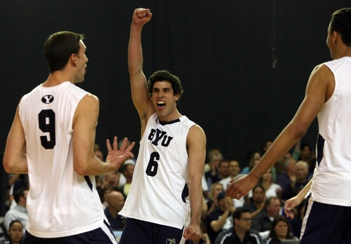 Kim Raff  |  The Salt Lake Tribune BYU players (left) Tyler Heap and (middle) Josue Rivera celebrate scoring a point against UCLA during the semifinals of the MPSF Volleyball Tournament at the Smith Fieldhouse in Prove on April 25, 2013.  BYU went on to win the match 3-2 after trailing UCLA by two sets.