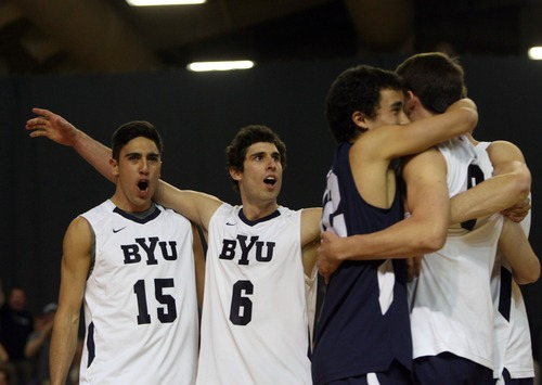 Kim Raff  |  The Salt Lake Tribune BYU players celebrate scoring a point against UCLA during the semifinals of the MPSF Volleyball Tournament at the Smith Fieldhouse in Prove on April 25, 2013.  BYU went on to win the match 3-2 after trailing UCLA by two sets.