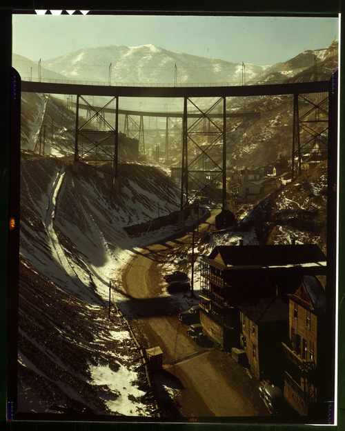 "Photos courtesy Library of Congress  Carr Fork Canyon as seen from the ""G"" bridge at Bingham Copper Mine in Nov. 1942."