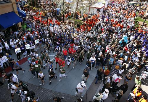 Scott Sommerdorf   |  The Salt Lake Tribune Thousands of people start the Salt Lake City MS Walk on Rio Grande in the Gateway, Saturday, April 27, 2013.