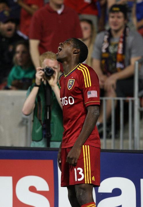 Kim Raff  |  The Salt Lake Tribune Real Salt Lake forward Olmes Garcia (13) screams in frustration after being called on a foul deep in Los Angeles Galaxy territory as Real Salt Lake trails by two at Rio Tinto in Sandy on April 27, 2013. Real Salt Lake lost the game 2-0.