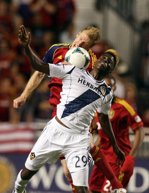 Kim Raff  |  The Salt Lake Tribune (back) Real Salt Lake defender Nat Borchers (6) and (front) Los Angeles Galaxy forward Gyasi Zardes (29) compete for a head ball during the second half at Rio Tinto in Sandy on April 27, 2013. Real Salt Lake lost the game 2-0.