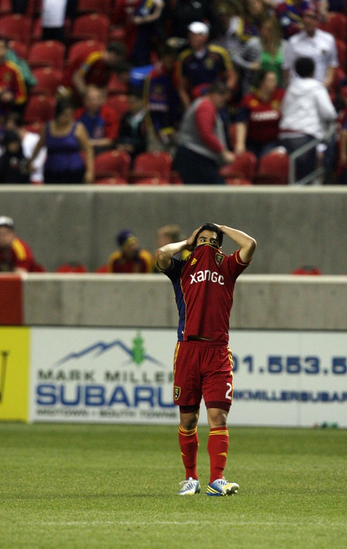Kim Raff  |  The Salt Lake Tribune Real Salt Lake defender Tony Beltran (2) reacts as the final whistle is blown and Real Salt Lake loses 2-0 to the Los Angeles Galaxy at Rio Tinto in Sandy on April 27, 2013.