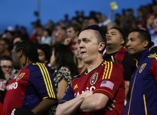 Kim Raff  |  The Salt Lake Tribune Real Salt Lake fans show their frustration as Real Salt Lake trails by two goals late in the second half at Rio Tinto in Sandy on April 27, 2013.