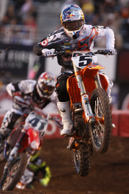 Rick Egan  | The Salt Lake Tribune   Ryan Dungey, (5) Bella Plaine, MN, competes in the 450SX division, in the Supercross motorcycle racing at Rice-Eccles Stadium, Saturday, April 27, 2013.