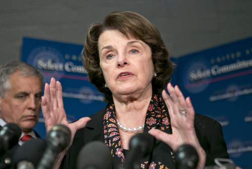 Senate Intelligence Committee Chairman Dianne Feinstein, D-Calif., speaks with reporters following a closed-door briefing by intelligence agencies on the Boston Marathon bombing,  on Capitol Hill in Washington, Tuesday, April 23, 2013. (AP Photo/J. Scott Applewhite)