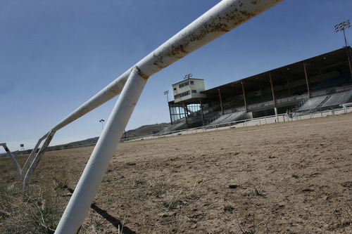 Scott Sommerdorf   |  The Salt Lake Tribune Looking from the infield past the stretch, to the stands at Wyoming Downs racetrack. The track has been dormant for 4-5 years, but Eric and Paul Nelson are working to bring it back to life, Thursday, April 25, 2013.