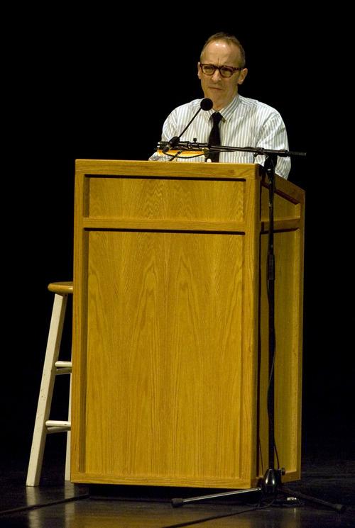 "Kim Raff     The Salt Lake Tribune David Sedaris talks to the audience at the Capitol Theatre in Salt Lake City on April 28, 2013. Sedaris is touring to promote his newest book, ""Let's Explore Diabetes With Owls."""