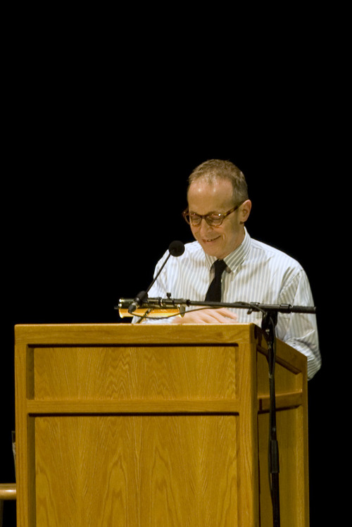 "Kim Raff     The Salt Lake Tribune David Sedaris talks to the audience at the Capitol Theatre in Salt Lake City on April 28, 2013. Sedaris is touring to promote his newest book ""Let's Explore Diabetes With Owls."""