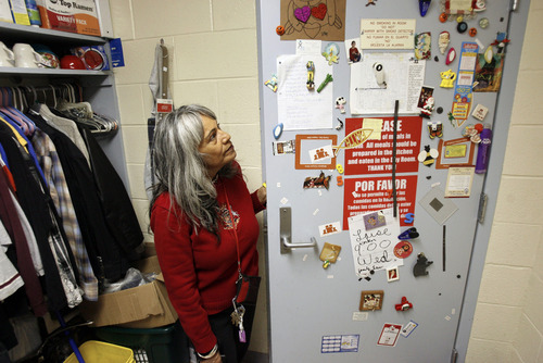 Francisco Kjolseth  |  The Salt Lake Tribune Linda Martinez Brown overlooks her metal door at the Road Home Homeless Shelter where the five grandchildren she takes care of have decorated the door. Brown, who used to live in senior housing, had to move to the shelter back in January to care for her grandchildren. The sequester -- federal budget cuts across-the-board -- are expected to hit the most vulnerable segments of society the hardest as they further weaken an already frayed safety net. Over the past three years, the number of homeless families in Utah has risen dramatically due to job losses, home foreclosures and other misfortunes.