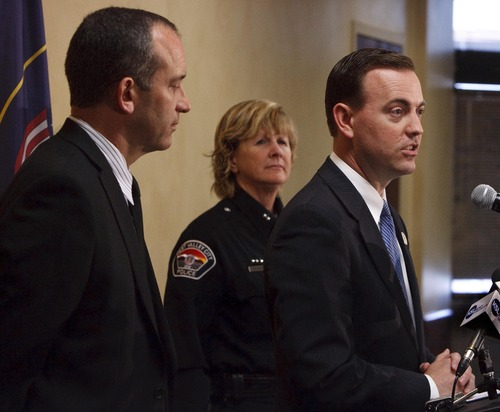 Leah Hogsten  |  The Salt Lake Tribune West Valley City Mayor Mike Winder (right), flanked by City Manager Wayne Pyle and Anita Schwemmer, West Valley City's acting police chief, says he wants to city to establish stronger independent oversight to get its troubled police department back on track.