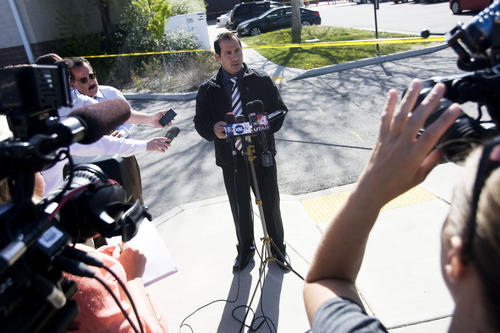 Kim Raff  |  The Salt Lake Tribune During a press conference, West Valley Police Sgt. Jason Hauer gives information about a shooting that took place in and around the West Valley City Police Department on April 29, 2013. No police were injured and James Ramsey Kammeyer was taken into custody.
