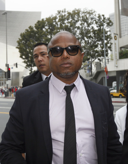 Randy Jackson, brother of late pop star Michael Jackson, arrives at a courthouse for Katherine Jackson's lawsuit against concert giant AEG Live in Los Angeles, Monday, April 29, 2013. An attorney for Michael Jackson's mother says AEG Live owed it to the pop superstar to properly investigate the doctor held criminally responsible for his death. (AP Photo/Nick Ut)
