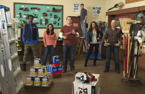 "ABC's ""Family Tools"" stars Edi Gathegi as Darren Poynton, Danielle Nicolet as Lisa ""Stitch"" Poynton, Kyle Bornheimer as Jack Shea, Johnny Pemberton as Mason Baumgardner, Leah Remini as Terry Baumgardner and J.K. Simmons as Tony Shea. Courtesy photo"