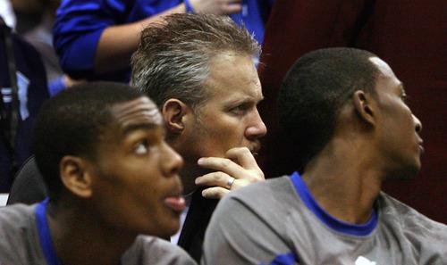 Steve Griffin  |  The Salt Lake Tribune   Utah Jazz CEO Greg Miller sits behind the bench during a game in Salt Lake City in 2012.
