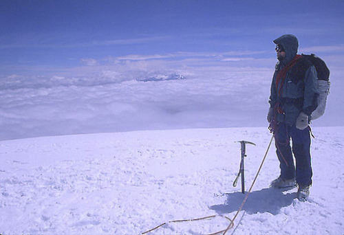 University of Utah assistant professor Cagan Sekercioglu on Cotopaxi, the highest active volcano on earth, in Ecuador 1997. Courtesy Cagan Sekercioglu