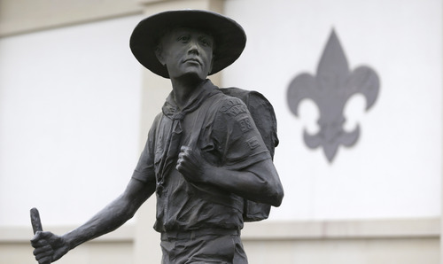 A statue of a Boy Scout stands in front of the National Scouting Museum, Monday, Jan. 28, 2013, in Irving, Texas. (AP Photo/LM Otero)