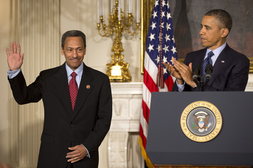 FEDERAL HOUSING FINANCE AUTHORITY (FHFA) DIRECTOR - President Barack Obama announces his nominee for the Federal Housing Finance Authority (FHFA) director, Rep. Mel Watt, D-N.C., Wednesday, May 1, 2013, in the State Dining of the White House in Washington. (AP Photo/Jacquelyn Martin)