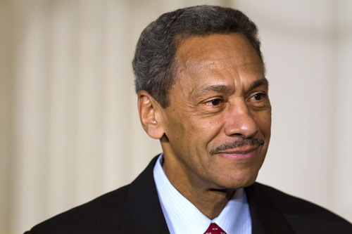 Rep. Mel Watt, D-N.C., listens as President Barack Obama announces Watt as his nominee for the Federal Communications Commission (FCC), Wednesday, May 1, 2013, in the State Dining Room of the White House in Washington. (AP Photo/Jacquelyn Martin)